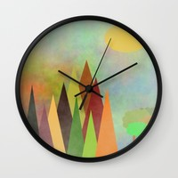 Whimsical Landscape Wall Clock by Kathleen Sartoris