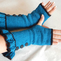 Teal blue Fingerless gloves long knitted armwarmers with ruffle light weight yarn for year round wear