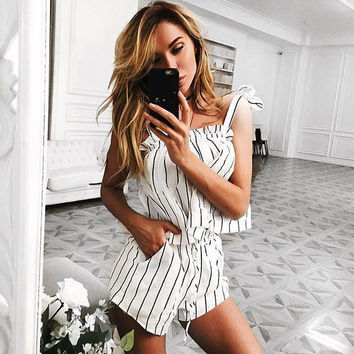 White Bow Stripe Elegant Jumpsuit Romper Off shoulder Two Piece Suit