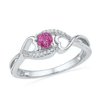 Sterling Silver Womens Round Lab-Created Pink Sapphire Solitaire Heart Ring 1/6 Cttw 101267