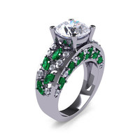 Modern Italian 14K White Gold 3.0 Ct Russian Ice CZ White Diamond Marquise Emerald Engagement Ring Wedding Ring R614-14KWGDEMRCZ