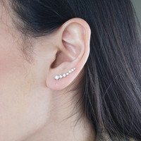 Pair Of Stunning Silver or Gold Shooting Star Comet Ear Cuff Earrings