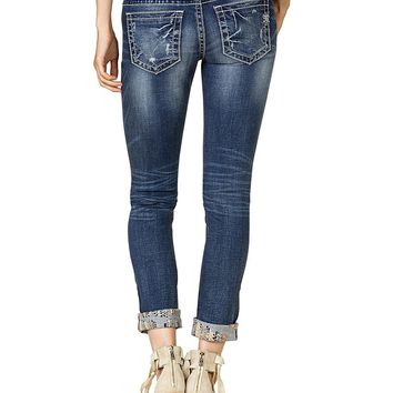 Miss Me Women's Embroidered Rolled Cuff Skinny Jeans - Jp7778ck Mk 629