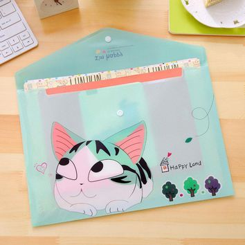 12 pcs/lot Korean Stationery Cute Cheese Cat A4 File Holder Bag Kawaii PVC Ducoment Bags office Material school Supplies