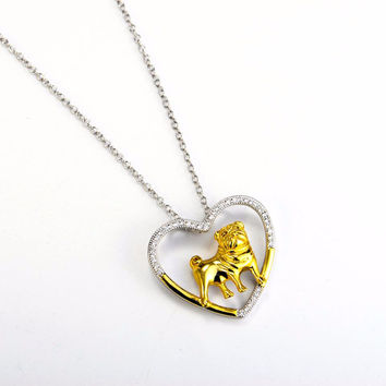 Love Pugs Sterling Silver & Gold Woman's Necklace