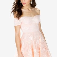 Off Shoulder Frill Lace Dress
