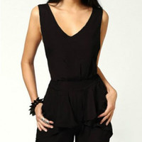 Black V-Neck Pleated Backless Chiffon Romper