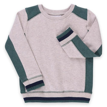 Heather Oat & Heather Forest Wyatt Organic Pullover - Toddler & Boys