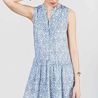 Ecote Printed Drop-Waist Shirt Dress- Blue Multi