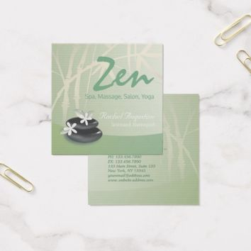 ZEN Stone Bamboo YOGA SPA Massage Beauty Salon Square Business Card