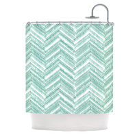 "Heidi Jennings ""Painted Chevron"" Teal Green Shower Curtain"