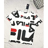 Fila Fashion New Fashion Letter Print Women Men Top T-Shirt White