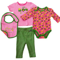 John Deere Newborn Pink And Green 4 Piece Layette Set