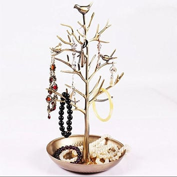 Youngway(TM) Antique Silver Birds Tree Jewelry Display Stand Earring Necklace Bracelets Rings Holder Organizer Rack Tower-Gold