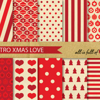 Digital SCRAPBOOKING Paper Pack VINTAGE Red XMAS Printable Background