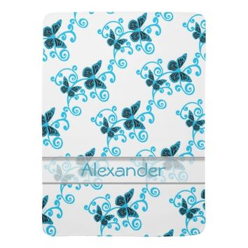 Cute Blue Butterflies Swirls Pattern Custom Name Swaddle Blanket