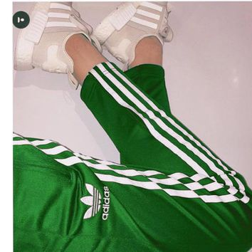 """Adidas""Classic Women Men Pants Loose Sport Trousers Four Color Green"