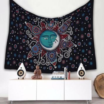 Sun Psychedelic Wall Tapestry Sun and Moon Tapestry