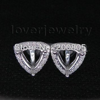 14KT White Gold Vintage Trillion 7x7mm Diamond Semi Mount Earrings