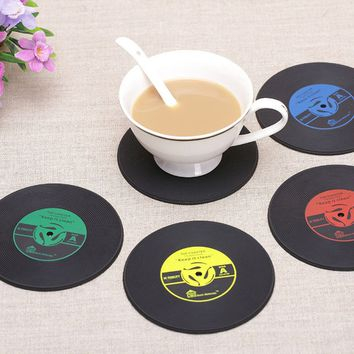 4Pcs/set Silicone Retro Vinyl CD Record Coasters,Table Drinks Cup Mat Pad,Tableware Placemat
