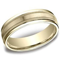 Benchmark 6 MM Yellow Gold Satin Center Carved Men's Wedding Band