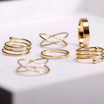 2016 Hot unique set of rings punk fist gold rings for women ring finger 6 pcs. ring set best selling