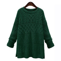 Twisted Side Slit Knitted Sweater