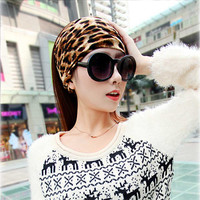 Leopard Striped 100% Cotton Headband Elastic Print Knottd Stretch Hair Band For Women Lady Casual Turban