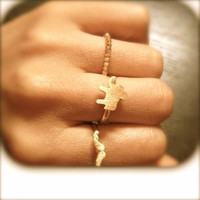 Tiny Gold Plated Elephant & Mustach Rings by PpnDd on Etsy