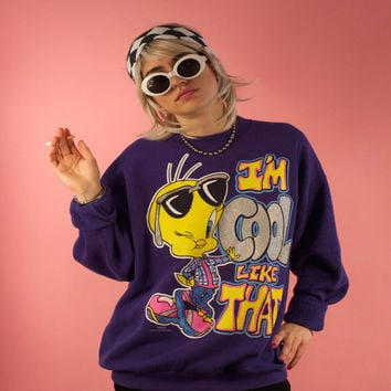 "Vintage 90's Tweety Bird Sweater ""I'm Cool Like That"" Purple Looney Tunes Cartoon Grunge Oversized Large Glitter Super Rad and Rare Unisex"