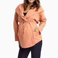 Peach-Textured-Maternity-Jacket