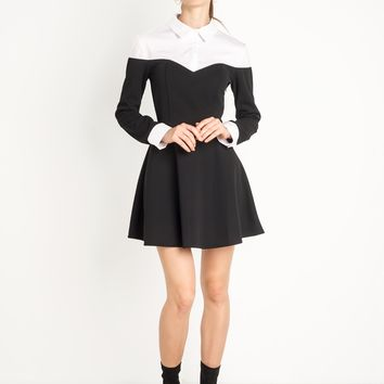 Black and White Fit and Flare Shirt Dress