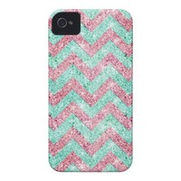 Chevron Pattern, pink & teal glitter photo print Iphone 4 Covers from Zazzle.com