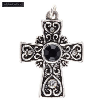 Antique Silver Swirl Cross Pendant with Black Gem | Hobby Lobby | 449009