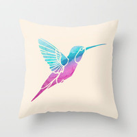 Watercolor Hummingbird Throw Pillow by Jacqueline Maldonado | Society6