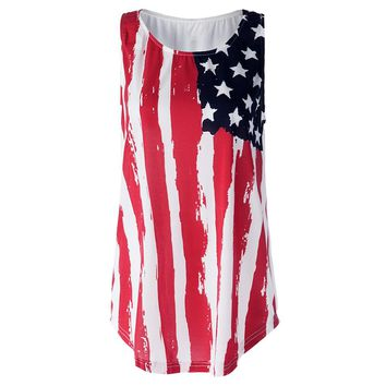 Patriotic USA Flag Print Tank Top