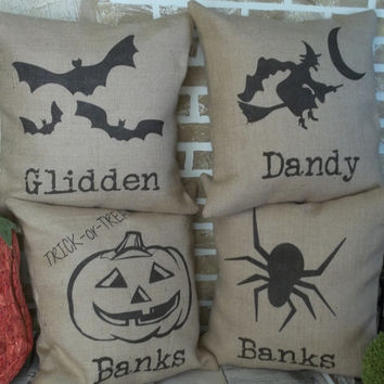 Burlap Halloween Witch Pillow with name