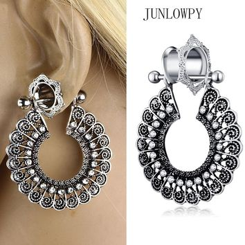 JUNLOWPY Woman Dangle Earring Plugs And Tunnels Crystal Ear Gauges Piercing Kit 0G Expabnder Stretchers Body Jewelry 2pcs