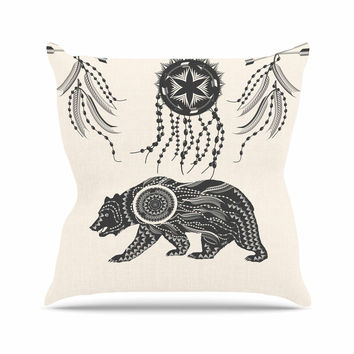 "Famenxt ""Boho Ornate Bear"" Beige Black Throw Pillow"