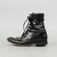 80's Black LEATHER Laredo Boots US 7