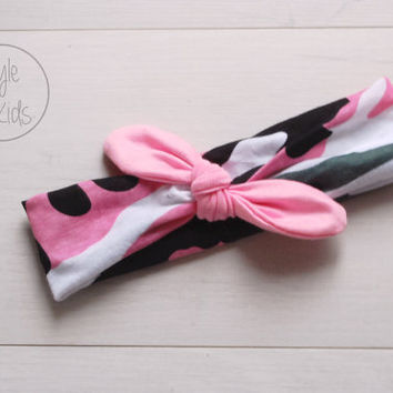 Pink Army Knot Headband with PINK Bow Headband Knot Toddler Headband Head Wrap Baby Bow Headband Newborn Knot Headband