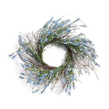 "Purple Blue 28"" Floral Bud Wreath"