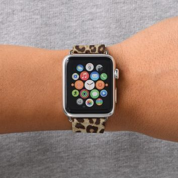 Leopard Print Apple Watch Leather Band 38mm