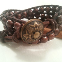 Double wrap bracelet, chunky boho style, brown leather, brown glass beads