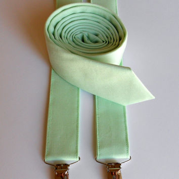 Mint Necktie and Suspenders - Skinny or Standard Width - Men's, Teen, Youth