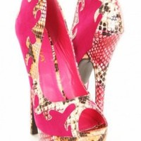 Fuchsia Faux Snake Leather Embroidery Trim Contrast Peep Toes Pumps @ Amiclubwear Heel Shoes online store sales:Stiletto Heel Shoes,High Heel Pumps,Womens High Heel Shoes,Prom Shoes,Summer Shoes,Spring Shoes,Spool Heel,Womens Dress Shoes,Prom Heels,Prom P