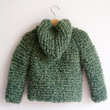 Hand Knitted Baby/Toddler Boucle Wool Yarn Hoodie Duffel Coat/Jacket, Chunky, Green, 12-18 months, Ready To Ship