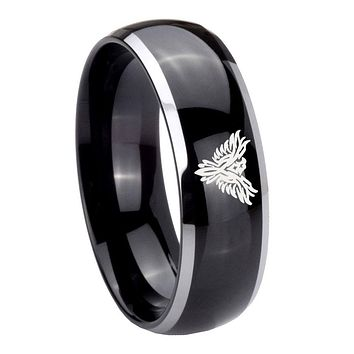 8MM Glossy Black Dome Phoenix 2 Tone Tungsten Laser Engraved Ring