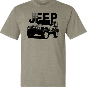 Jeep Wrangler T-shirt- Sporty Off Road Vehicle-Pigment Dyed Tee in Sandstone