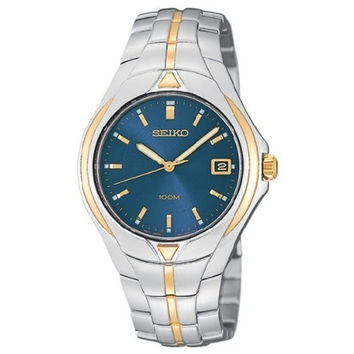 Seiko SGE798 Men's Blue Dial Two Tone Gold Plated Steel Bracelet Watch